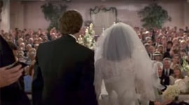 Can you identify these famous film weddings from 1 photo?
