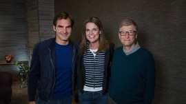 Savannah Guthrie has her game face on to play Roger Federer
