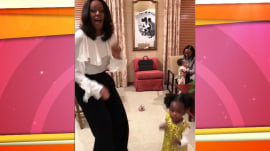 Little girl who admired Michelle Obama's portrait gets to dance with her
