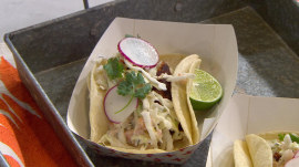 Make easy fish tacos and Mexican chocolate cake, California-style