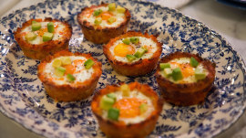 Learn how to make hash brown egg cups and a 'magical' bloody mary