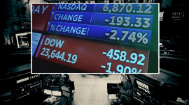 Dow plunges 458 points amid trade war fears, attacks on Amazon