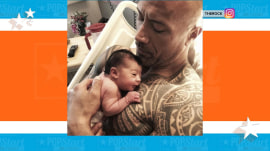 Dwayne Johnson posts picture of his newborn daughter