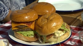 Chef Ben Ford whips up queso blanco-topped burgers