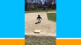 Watch this adorable little T-ball player try to slide into 3rd base