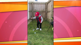 Watch what happens when this young golfer keeps his eye on the ball
