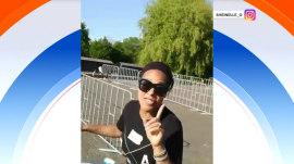 Watch Sheinelle Jones almost wipe out on a bike in Amsterdam