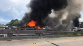 At least 4 dead in fiery pileup after two 18-wheelers crash