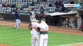 High school pitcher gives the buddy he struck out a consoling hug