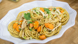Chef Kathy Fang makes a delicious teriyaki noodle salad with chicken