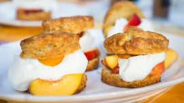 Make dessert peachy with Jocelyn Delk Adams' sugar shortcakes, caramel skillet cake