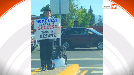 Homeless young man 'Hungry 4 Success' gets job offers after photo of him with sign goes viral