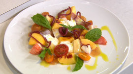 Geoffrey Zakarian makes a fresh heirloom tomato salad with peach and lobster
