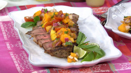 Megyn Kelly learns how to make a delicious steak with mango salsa!