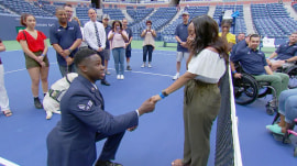 Air Force member proposes to his girlfriend at the U.S. Open