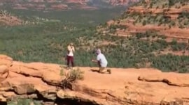 Woman hiking captures strangers' engagement on video