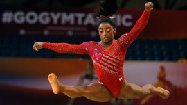 Simone Biles leads US women's gymnastics to world championship