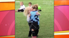 Watch: Rival soccer player hugs sad girl on other team