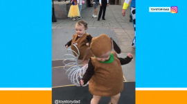 Little kids win Halloween with Slinky dog costume