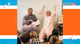 Reese Witherspoon dressed as a pig in visit to son's class