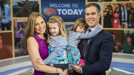 Peter Alexander's wife and daughters join him to celebrate his new job!
