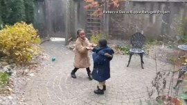Refugee children delighted by snow in heartwarming video