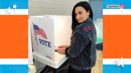 Demi Lovato heads to polls in 1st post since rehab