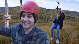 Zip-lining through the Catskill Mountains in New York