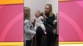 Baby with hearing aids overjoyed hearing sister's voice for 1st time
