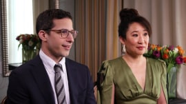 Co-hosts Andy Samberg and Sandra Oh talk Golden Globes prep