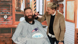 Ellen shaves Patriots MVP Julian Edelman's beard