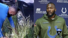 NFL player stops to help his former teacher change her flat tire