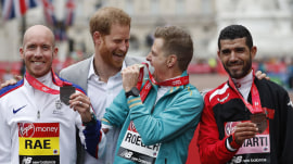 Prince Harry hits London Marathon as Meghan Markle's due date nears