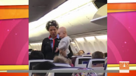 Airline attendant soothes restless baby on mom's long flight