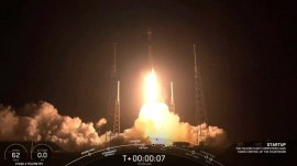 SpaceX launches dozens of internet satellites into space