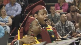 Mom surprised with degree at son's graduation after missing her own