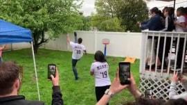 Gender reveal gone wrong: Dad kicks ball into neighbor's yard