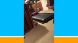 Teens discover treadmill trick with a bouncy ball