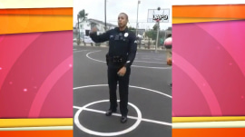 LAPD officer sinks backwards half-court shot