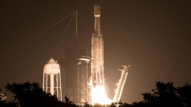 SpaceX Falcon Heavy rocket lifts off from Florida