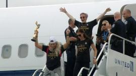 World Cup-winning US women's national soccer team returns home