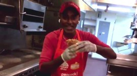Chef Marcus Samuelsson competes in Rokerthon with a crispy bird dog