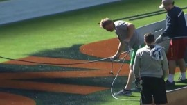 Super Bowl ground crews accidentally paint wrong end zone