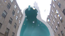 Is it a swimming pool or 'Van Gogh's Ear'? Rockefeller Center welcomes new art