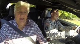Jay Leno takes US hero out for a spin in muscle car