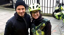 David Beckham surprises paramedic and patient with tea, coffee