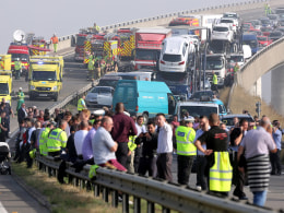 Image: Vehicles involved in a multiple pile-up on the London bound carraigeway of the New Sheppey Crossing Bridge by the the Isle of Sheppey, Kent, England, on Sept. 5.