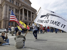 Image: Gun rights supporters gather at a Guns Across America rally at the Texas state capitol in Austin on Jan. 19.