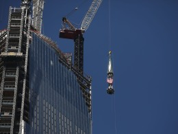 Image: Final Sections Of Spire Raised To Top Of One World Trade Center