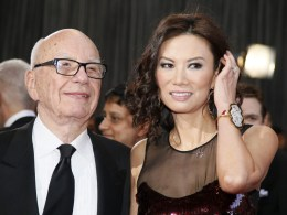 Image: File photo of Rupert Murdoch chairman and CEO of News Corporation arriving with his wife Wendi Deng at the 85th Academy Awards in Hollywood California